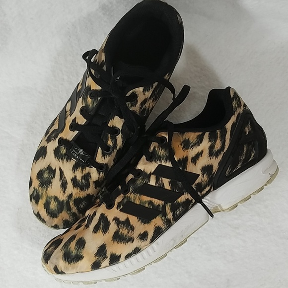 low priced fa074 cbc75 adidas Shoes - Adidas ZX FLUX Leopard Print Sneakers sz